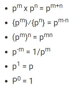 Basic formulas for powers